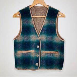 Vintage Woolrich Reversible Wool Vest Suede Trim
